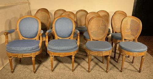 Set Of 12 Chairs And Two Armchairs Louis XVI 18th Century (1 of 11)
