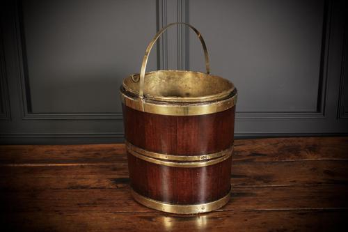 George III Mahogany & Brass Peat Bucket (1 of 7)
