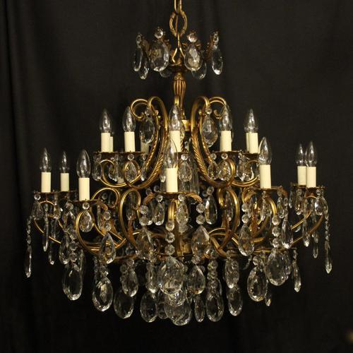 Italian Gilt & Crystal 21 Light Antique Chandelier (1 of 10)