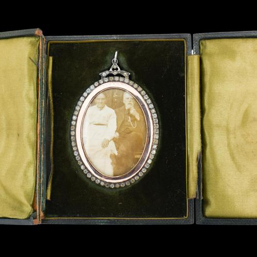 Antique Edwardian Paste Large Silver and Rose Gold Oval Locket Pendant in Box / Boxed (1 of 10)