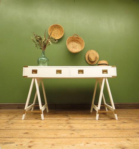 Vintage Scandi Boho White Campaign Style Desk with Trestle Legs (1 of 17)