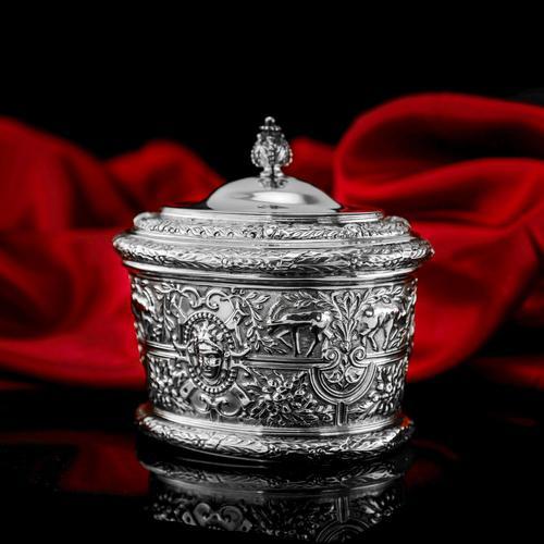 Rare Antique Solid Silver Cellini Tea Caddy Box - Mappin & Webb 1902 (1 of 28)