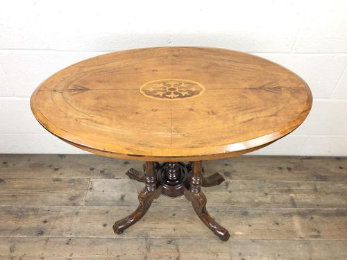 Victorian Walnut Oval Tilt Top Occasional Table (M-1713) (1 of 11)