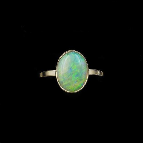 Antique Colourful Natural Opal Oval Solitaire 9ct 9K Gold Ring (1 of 9)
