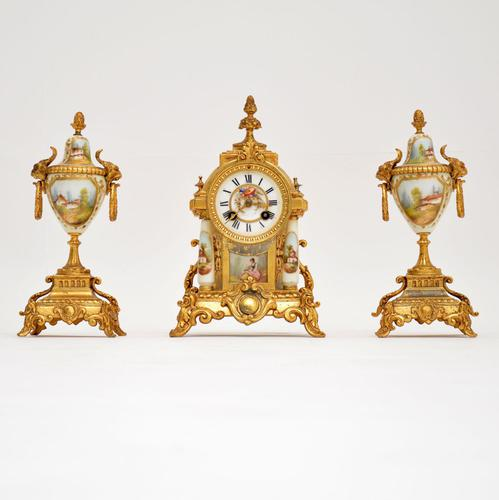 Antique French Porcelain & Gilt Mantel Clock Set (1 of 12)