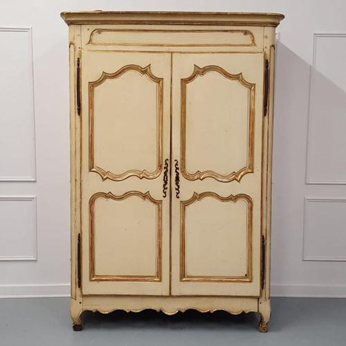 Early French Original Painted Armoire c.1750 (1 of 9)