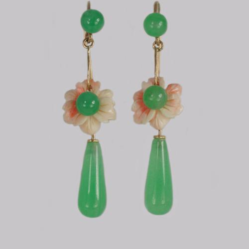 Antique Jade & Coral Drop Earrings 18ct Gold Dangle Floral Edwardian Earrings (1 of 6)