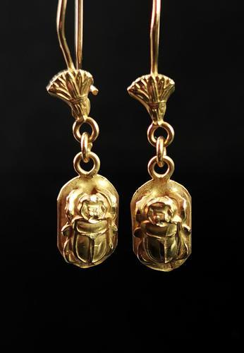 Vintage 18ct Gold Scarab Beetle Earrings, Dangly Earrings (1 of 10)