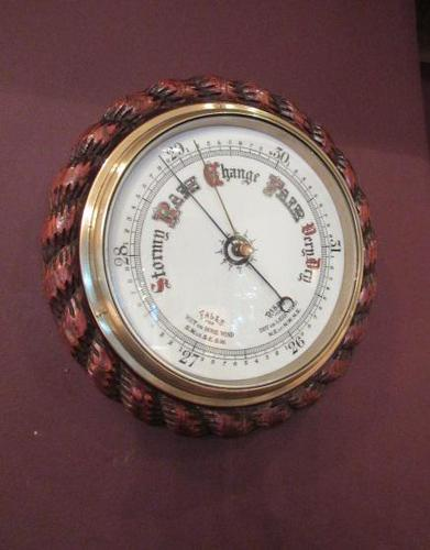 Large Antique Polished Oak Ship's Barometer (1 of 6)
