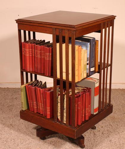 English Revolving Bookcase in Mahogany & Inlays (1 of 10)