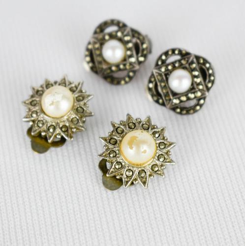 Marcasite Faux Pearl Clip on Earrings (1 of 3)