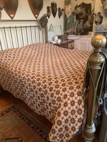 Antique Vintage Retro French Large King Size Patterned Bed Quilt (1 of 10)