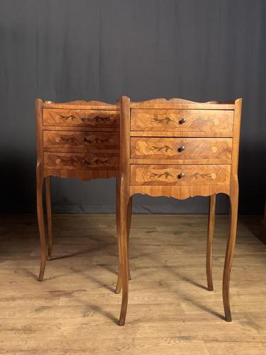 Pair of French Inlaid Tulipwood Bedside Tables (1 of 11)