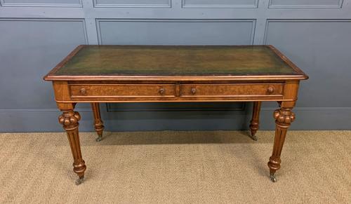 Very Good Victorian Burr Walnut Writing Table (1 of 16)