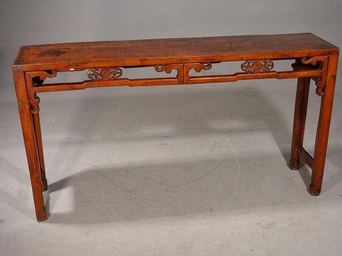 A Slender Late 19th Oriental Elm Hall Table (1 of 6)