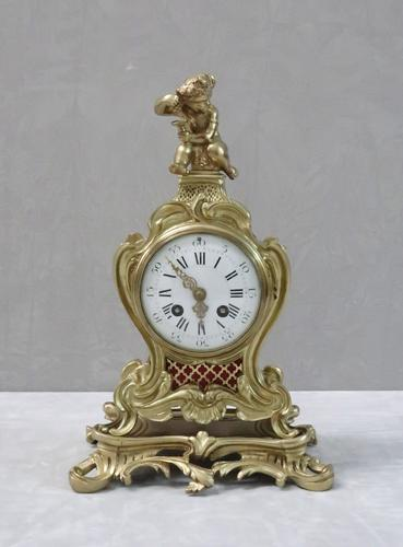 French Brass & Gilt Rococo Style Mantel Clock by Samuel Marti (1 of 7)
