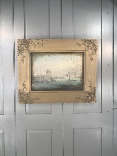 Antique Georgian or Early Victorian Landscape Oil Painting of Boats in Harbour by John Wilson Ewbank 2 of 2 (1 of 10)