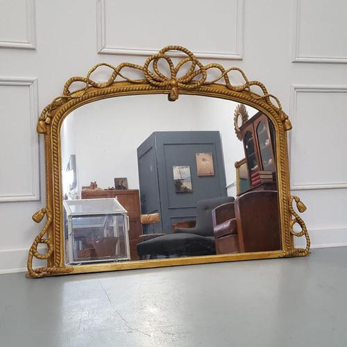 Beautiful Gilded English Rope Design Overmantle Mirror c.1870 (1 of 9)