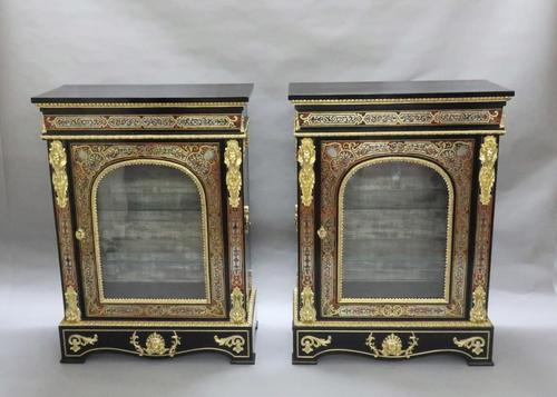 Pair of Victorian English Boulle Side Cabinets (1 of 11)