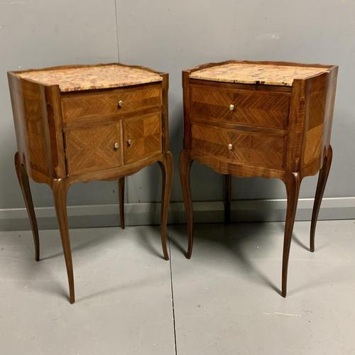 Pair of French Marble Top Bedside Cabinets (1 of 6)