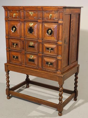 A Handsome Late 17th Century Block Fronted Oak and Mahogany Chest (1 of 5)