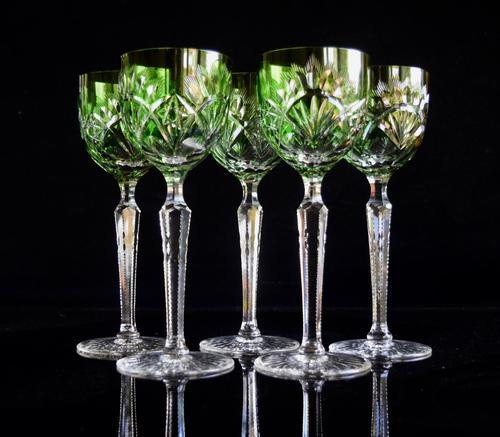 5 Green Hock Glasses Bohemian 1960 (1 of 5)