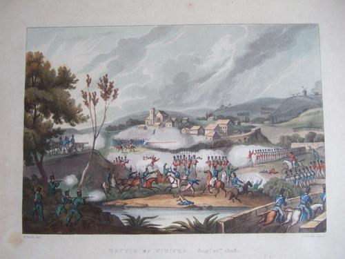 """Aquatint of """"The Battle of Vimiera 1808"""" Pub. by James Jenkins in """"Martial Achievements of Great Britain & Her Allies 1799-1815"""" (1 of 6)"""