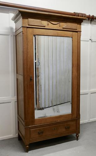 Victorian Arts & Crafts Golden Oak Mirrored Wardrobe (1 of 9)