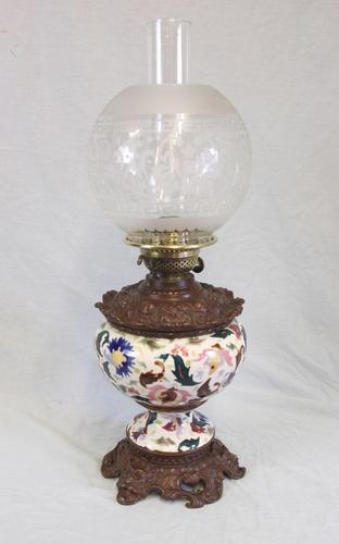 Antique Pottery Oil Lamp & Shade Globe (1 of 12)
