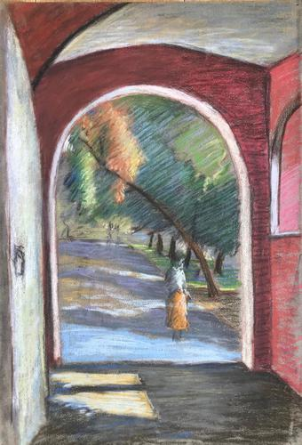 Original pastel 'Through an archway' by Dennis Gilbert NEAC.b.1922 c.1980 (1 of 2)