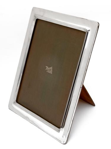 Large Plain Rectangular Silver Photo Picture Frame with Oak Easel Back (1 of 5)