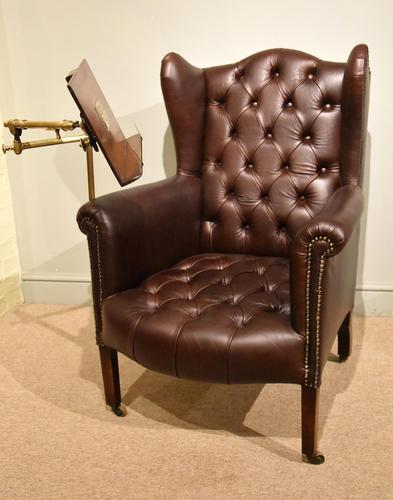 Edwardian Mahogany Leather Wing-back Armchair (1 of 10)