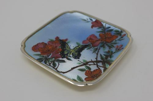 Antique Silver Guilloche Dish Painted with Butterfly & Flowers - 1911 (1 of 11)