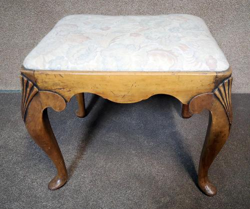 Queen Anne Style Walnut Stool c.1920 (1 of 10)