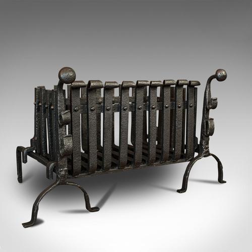 Antique Fire Basket, Andirons, Cast Iron, Fireside, Grate, Fire Dogs, Victorian (1 of 9)