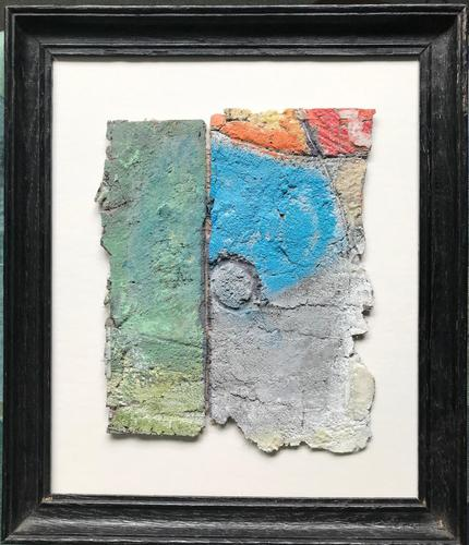 Original oil on cement 'Abstract composition' by Peter Manzaroli. c.1985 (1 of 2)