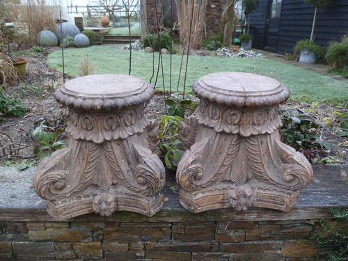 Stunning 18th / 19th Century Walnut ? Hand Carved Corinthian Column Bases (1 of 12)