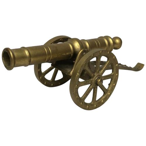 Small Antique French Victorian 19th Century Brass Cannon Ornament (1 of 18)