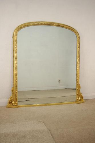 Victorian Gilt Arched Top Overmantle Mirror (1 of 8)
