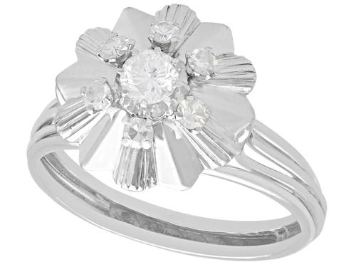 0.62ct Diamond & 18ct White Gold Dress Ring - Vintage c.1950 (1 of 9)
