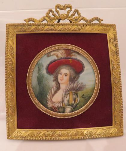 Miniature Portrait Lady of the French Court Square Gilt Frame 1880 (1 of 3)