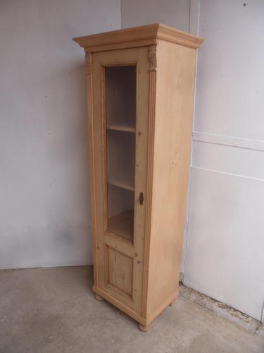 Antique Pine 1 Door Tall Bathroom Towel Storage Cupboard to wax / paint (1 of 10)
