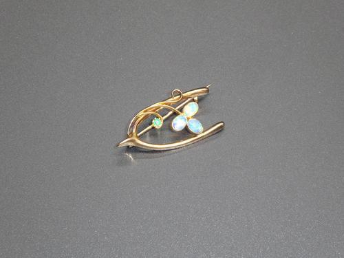 Edwardian 15ct Gold, Opal & Emerald Wishbone Brooch (1 of 4)