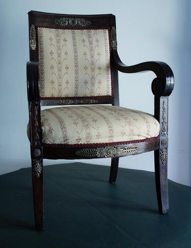 Mahogany Napoleonic and heavily mounted brass  upholstered armchair. (1 of 6)