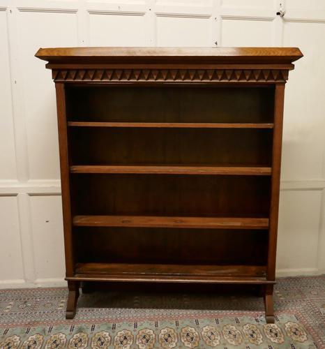 Arts & Crafts Large Golden Oak Open Bookcase (1 of 7)