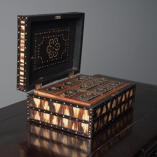 Anglo-Indian Ebony & Porcupine Quill Jewellery Box (1 of 12)