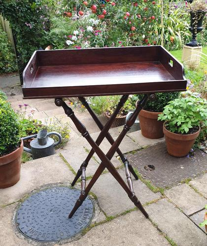 Early 19th Century Mahogany Butlers Tray with Stand (1 of 7)