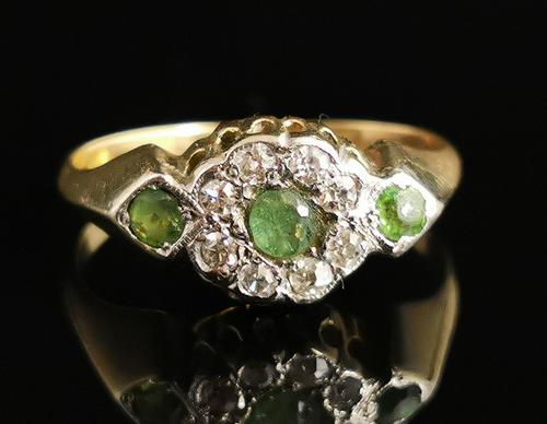 Antique Edwardian Peridot & Diamond Cluster Ring, 18ct Gold (1 of 13)