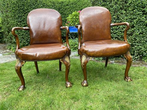 Pair of Leather Queen Anne Style Armchairs (1 of 10)