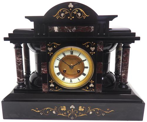 Amazing Mappin & Webb French Slate & Marble Mantel Clock 8 Day Striking Mantle Clock (1 of 10)